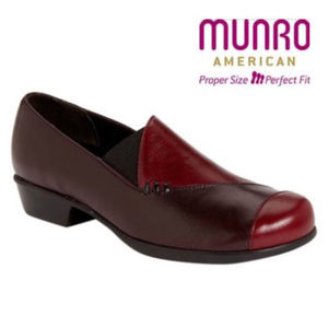 Munro Cheryl Cherry Wine Leather Loafers Shoes 6